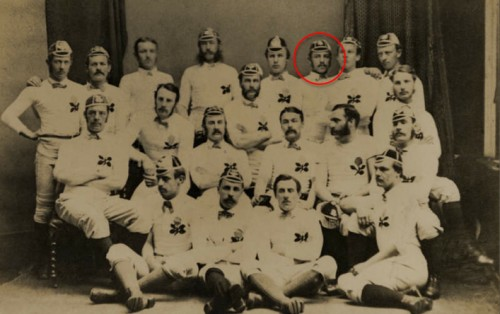 The England rugby team that played Scotland in 1873. Sydney Morse, the man who recorded Queen Victoria's voice, is circled in the back row.