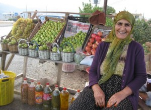 A fruit vendor by the highway near Izmir offer olives, pomegrantes and figs.