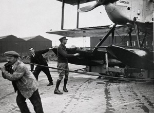 Pilot Lowell Smith oversees the movement of the Chicago before the flight to Scotland. Courtesy NASM.