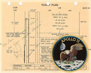 Apollo 11 flight plan. Courtesy of Bonhams.