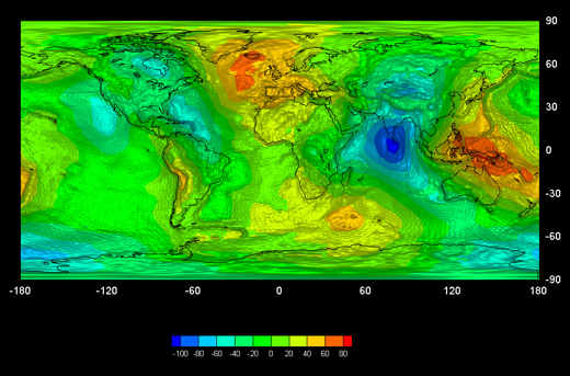Earth's gravity varies across the surface (Credit: GOCE High Level Processing Facility)