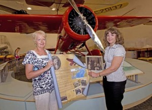 Margaret Gallagher Lapsley and Museum curator Dorothy Cochrane. Photo courtesy Mark Avino, NASM.