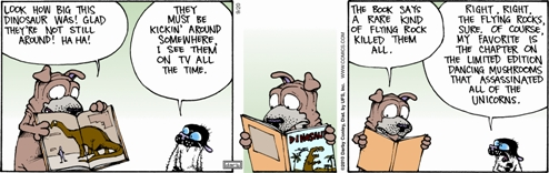 Last Monday's 'Get Fuzzy' strip featuring Satchel the dog and Bucky the cat. By Darby Conley