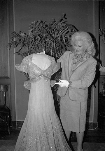 Ginger Rogers presents her Piccolino dress to the National Museum of American History in 1984. Photo courtesy of the museum.