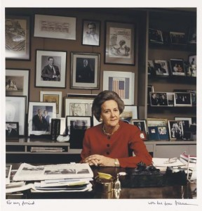 Katharine Graham, at her Washington Post desk