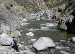 Waters that haunt: A run of New Zealand rapids, home to hulking browns and sleek rainbows, gets worked by Australian fisherman Bob Stinson. Photo by Michael Bland.