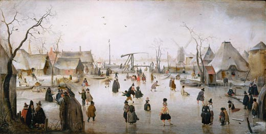 Ice Skating near a Village, c. 1610, by Hendrick Avercamp (via wikimedia commons)