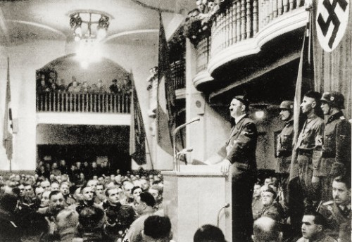 Hitler speaking to his Old Comrades in the Bürgerbräukeller in Munich