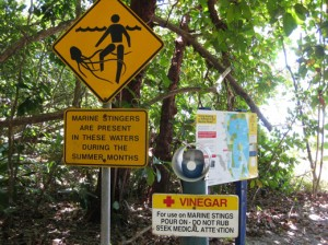 A sign near an Australian beach warns of the danger of jellies (photo by Sarah Zielinski)