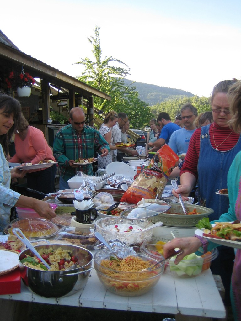 An Adirondack potluck dinner. Photograph by Lisa Bramen