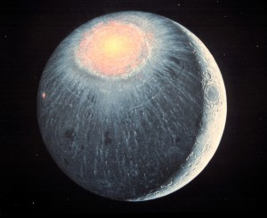The Imbrium basin immediately after formation, ~3.85 billion years ago.  Artwork by Don Davis.