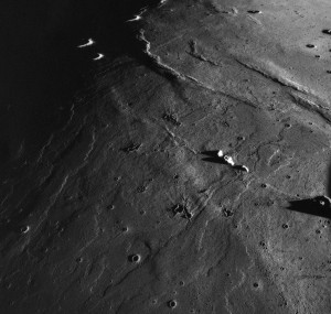 Flow lobes in the lavas of Mare Imbrium.  Chang'E 3 landed at the extreme northern end of this sequence of lavas, which are very young in lunar terms.  Apollo 15 metric image.