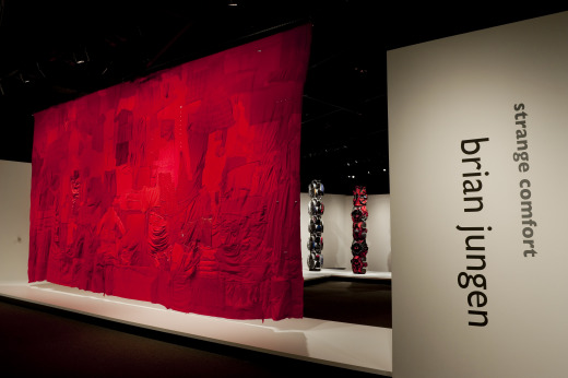 Brian Jungen's artwork, People's Flag, on display at the National Museum of the American Indian as part of his solo exhibition Strange Comfort. Photo by NMAI staff photographer Katherine Fogden.