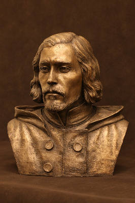 Artist Natalie Gallelli created this bronze bust of Kennicott based on a laser scan of the explorer's skull and photographs of him. The bust is on display at the Grove, Kennicott's family home in Glenview, Illinois. Image courtesy of the artist.
