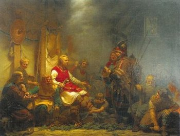 Johan August Malmstroms 1857 Painting King AEllas Messenger Before Ragnar Lodbroks Sons Depicts The Arrival Of News Death At Danish