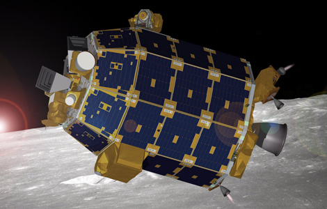 A NASA artist's conception of LADEE in lunar orbit.