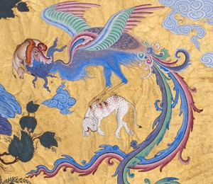 "This detail of ""Zal is Sighted by a Caravan,"" attributed to Abdul Aziz, ca. 1525, illustrates a scene in which Zal, whose albino hair was considered an ill omen, is fed by a giant bird. Image courtesy of the Sackler Gallery."