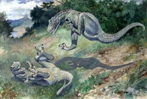 Charles R. Knight's famous 1896 restoration of Dryptosaurus. From Wikipedia.