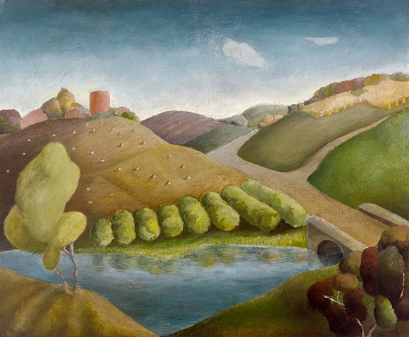 River and Hills by Grant Wood