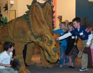 "A snapshot from the dress rehearsal of the ""Live from Laramidia"" dinosaur show at the UMNH."