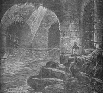 A London sewer in the nineteenth century. This one, as evidenced by the shaft of light penetrating through a grating, must be close to the surface; others ran as far as 40 feet beneath the city.