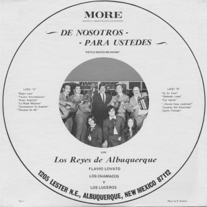 An early album produced by MORE records. Second from the right is Roberto Martínez Sr. At his feet are his children Lorenzo, Roberta and Doris who formed their own group, Los Chamacos.