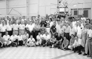 Most of the Mariner 2 team at JPL, with Jack James indicated by an arrow at right. (Courtesy Jack James)