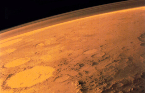 The thin Martian atmosphere, as seen by the Viking 1 orbiter.