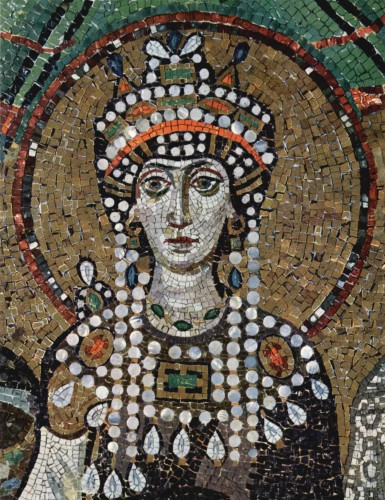 Justinian's empress, Theodora, a leading supporter of the Blues, rose from the most humble beginnings, captivating the Emperor with her beauty, intelligence and determination.