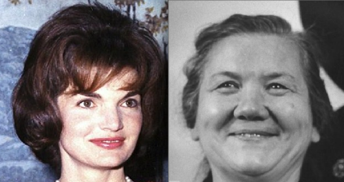 "Mrs Jackie Kennedy-Onassis,left, and Mrs Nina Khrushchev,right: """"The main difference for the history of the world if I had been shot rather than Kennedy is that Onassis probably wouldn't have married Mrs Khrushchev."""