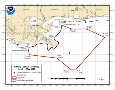 Federal waters closed to fishing along Gulf Coast, as of May 13. Courtesy NOAA.