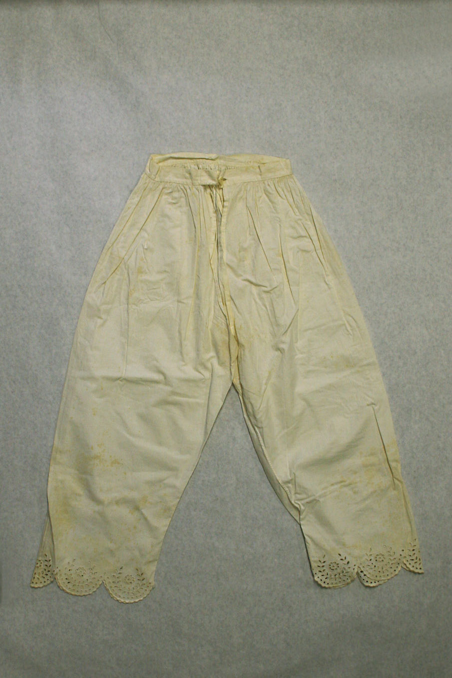 These pantaloons were likely worn beneath the dress Katharine Wright wore to the White House in 1909. Photograph: International Women's Air & Space Museum, Cleveland, OH.
