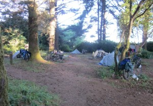 The hiker/biker campsite at Harris Beach State Park just north of Brookings gets packed in the summer, as does nearly every other similar campsite along West Coast. Photo by Alastair Bland.