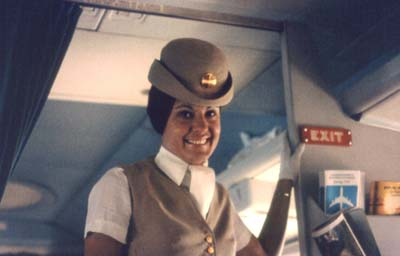 Sorry about the delay, folks. A Pan Am flight attendant circa 1970