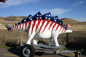 A patriotic Stegosaurus at Dinosaur Ridge.