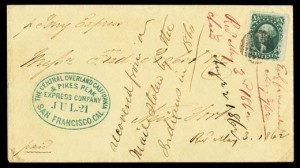 Pony Express-stamped letter, 1860, courtesy of the National Postal Museum