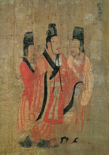 A possible oportrait of Wang Mang, from a later imperial history. Image: Wikicommons.