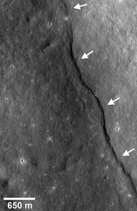 An image from the Lunar Reconnaissance Orbiter camera that shows one of the many fault scarps on the moon. Courtesy of NASA/GSFC/Arizona State University/Smithsonian.