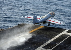 An EA-6B Prowler launches from catapult three aboard the USS Enterprise. Photograph: U.S. Navy/Mass Communications Specialist 3rd Class Jared King.