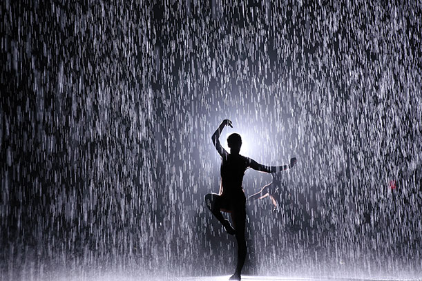 this incredible art installation makes it rain everywhere but on