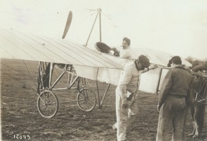 Pegoud at the controls of a Bleriot XI in 1913. (SI 2001-11634)
