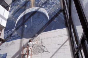 McCall painting the mural at the museum in 1976. Photo courtesy of the National Air and Space Museum.