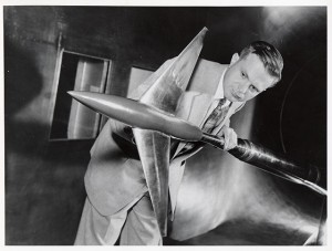 Whitcomb in 1955, inside Langley's 8-foot high-speed wind tunnel. (NASM Photo SI 75-4846)
