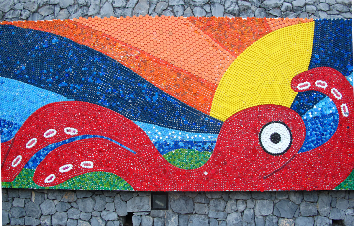 Trash and the future of traveling museum exhibits at the for Bottle cap mural