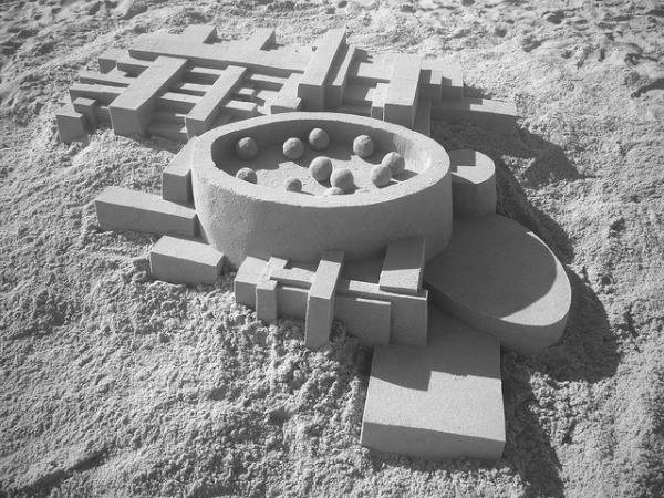 Modern architecture sandcastle by Calvin Seibert
