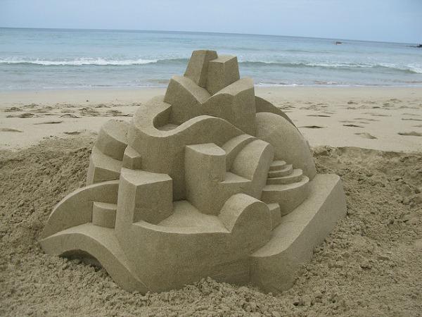 Modern geometric sandcastle