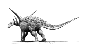A restoration of the ankylosaur Sauropelta by John Conway. From Wikipedia.