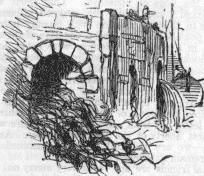 The exit of a London sewer before Bazalgette's improvements, from Punch (1849). These outflows were the entry points through which the toshers entered the underground labrynth they came to know so well./