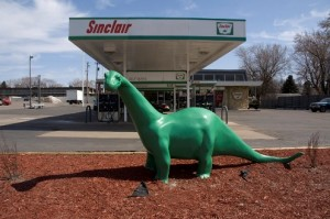 A plastic model of the Sinclair mascot at a gas station in Minnesota. Photo by Mark Ryan.