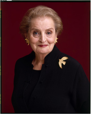 Secretary Albright became known for her pins. Portrait by Timothy Greenfield-Sanders.